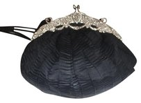 Other Antique Vintage Black Silk Silver Clutch