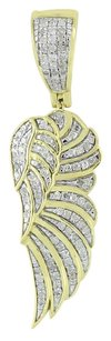 Other Archangel Wing Pendant Round Cut Diamonds 10k Real Yellow Gold Mens Ladies 1.4