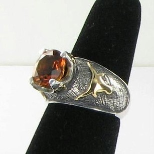 Arista R-11ag Ut U Of Texas Longhorns Ring Citrine 925 18k Yg