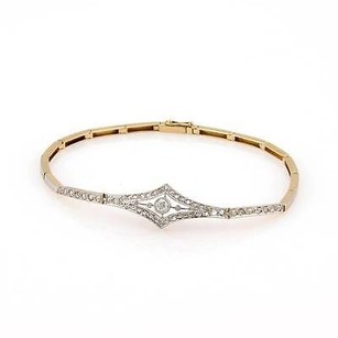 Art Deco Platinum 18k Yellow Gold Rose Cut Diamond Bracelet
