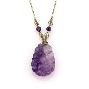 Other Art Nouveau 14k Yellow Gold Carved Amethyst Pendant Necklace
