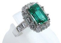 Auth Fine JEWELRY PT900 Platinum Diamond 1.80ct Emerald Ring
