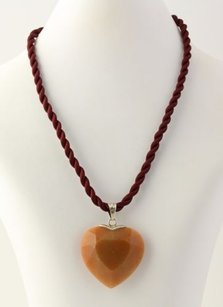 Aventurine Quartz Heart Pendant W Rope Necklace - 925 Sterling Silver Womens