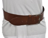 Avignon Womens Tan Wide Belt Solid Leather Casual