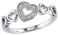 Other 10k White Gold Diamond 5 Heart Love Fashion Band Ring Gh I2i3