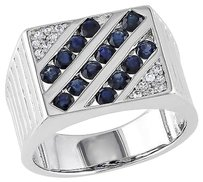 Other Sterling Silver 2 Ct Tgw Sapphire White Sapphire Fashion