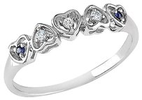 Other 10k White Gold Diamond And Sapphire Sky Blue Topaz 5 Heart Love Ring Band I2i3