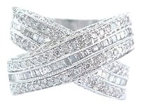 Fine Round Baguette Diamond Criss Cross White Gold Jewelry Band Ring 1.00ct