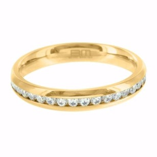 Unisex Stainless Steel 14k Yellow Gold Finish Channel Set Eternity Style Ring