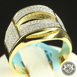 Mens 10k Gold On Real Silver 925 Pave Set Lab Diamond Wedding Band Ring