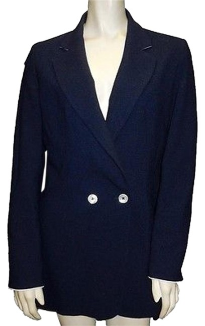 hot sale Michele Negri Navy Blue 100 Wool Button Collared Blazer Jacket Hs2950 #20153316 - Jackets
