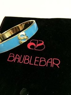 Other Bauble Bar Turquoise Enamel Monogram In Gold Metal Bangle Cuff Bracelet