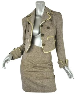 Bazar De Christian Lacroix Womens Brown Herringbone Blazer Skirt Suit Outfit