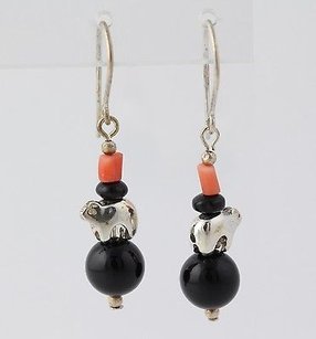 Other Beaded Bear Dangle Earrings Sterling Silver Hook Pierced Onyx Coral Southwestern