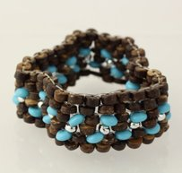 Beaded Bracelet - Sterling Silver Brown Wood Blue Howlite Beads Mesh Stretch