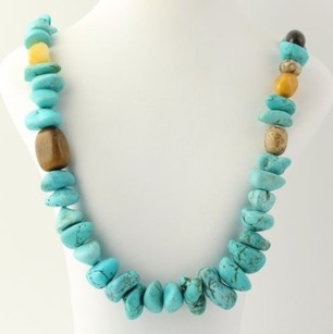 Beaded Chunky Necklace - Howlite Jasper Tigers Eye Quartzite Sterling Silver