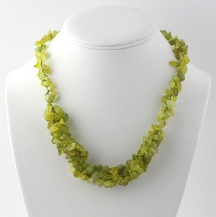 Beaded Green Quartzite Necklace 20- Sterling Silver Genuine Womens