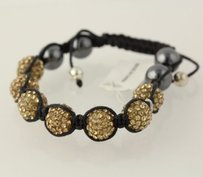 Other Beaded Hematite Rhinestone Bracelet Black Strand Gray Gold Adjustable