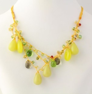 Beaded Necklace - Yellow Strand Silver Clasp Green Serpentine Colorful Glass