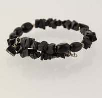 Other Beaded Onyx Wrap Bracelet - Sterling Silver Adjustable Black Stone