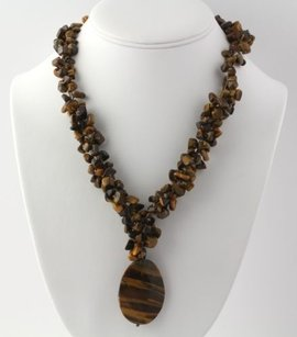 Beaded Tiger Eye Necklace Wpendant 22- Sterling Silver Clasp Womens