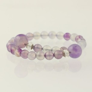 Other Beaded Wrap Bracelet - Sterling Silver Purple Agate Clear Crystal Quartz