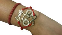 Beautiful infinity love and bicycle gold bracelet