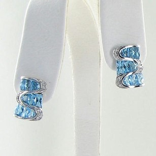 Bellarri Earrings 0.09cts Diamonds 6.47cts Blue Topaz 18k White Gold
