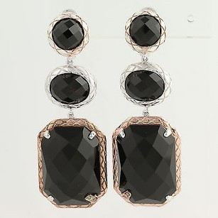 Bellarri Onyx Diamond Drop Earrings - Sterling Silver 18k Gold 65.28ctw