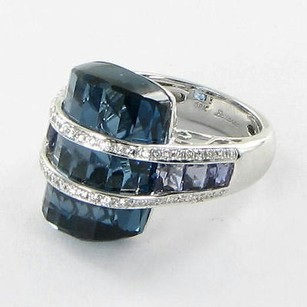 Bellarri Ring Tango 0.38cts Diamond London Blue Topaz Iolite 18k Wg