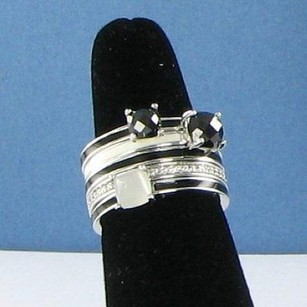 Belle Etoile Orbit Black Stack Ring 925 Silver Enamel Zirconia