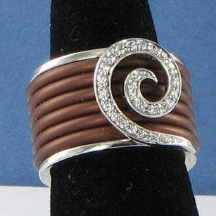 Belle Etoile Swirl Ring 925 Brown Rubber Cubic Zirconia