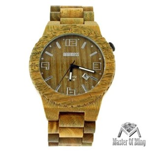 Bewell Sandalwood Watch Mens Wood Wooden With Gift Box Antique Look