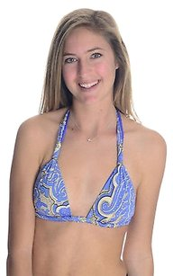 Vitamin A Blue Gold Paisley Triangle Bikini Top Lightly Padded Bathing Suit