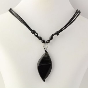 Other Black Agate Drop Pendant Necklace - Sterling Silver Black 3-strand Cord