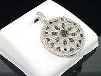 Black White Diamond Circle Designer Pendant 10k White Gold Charm 0.48 Ctw.