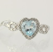 Other Blue Topaz Heart Ring - 925 Sterling Silver Diamonds 34 Solitaire