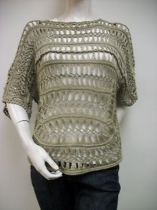 Other Ethyl Stone 100 Cotton Crocheted Dolman Sleeve H72sto Sweater