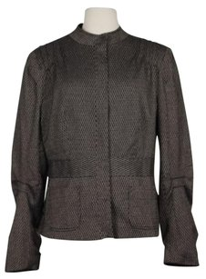 Boston Design Womens Brown Black Herringbone Blazerjacket Long Sleeve