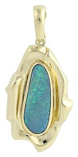 Boulder Opal Pendant - 14k Yellow Gold October Birthstone Fine Womens Gift