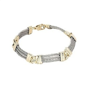 Bracelet 14k Two-tone Yellow Gold And Sterling Silver Inches 18.7 Gr Womens