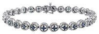 Sterling Silver Blue Diamond Bracelet 1 Ct Blue I3 7 Inch