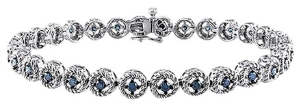 Other Sterling Silver Blue Diamond Bracelet 1 Ct Blue I3 7 Inch