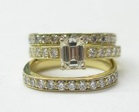 18kt Emerald Cut Diamond 3-ring Wedding Set Yg Solitaire W Accents 2.27ct