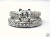 Fine Platinum Asscher Cut Two Ring Wedding Set 3.39ct