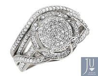 Bridal White Gold Flower Diamond Split Shank Engagement Wedding Ring Set .50ct