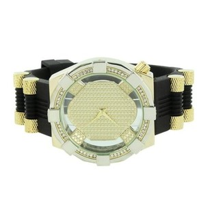 Bullet Designer Band Watch Simulated Diamonds Gold Dial Stainless Steel Back
