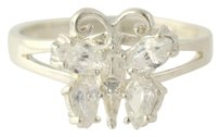 Other Butterfly Cubic Zirconia Cocktail Ring - 925 Sterling Silver Womens 8-8.25