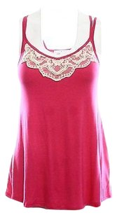 Moa Moa Fuschia Pink Lace Top Pinks