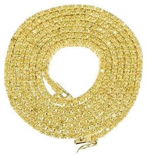 Other Canary Lab Diamond Chain Yellow Gold Finish Tennis Necklace Solitaire Link Mm